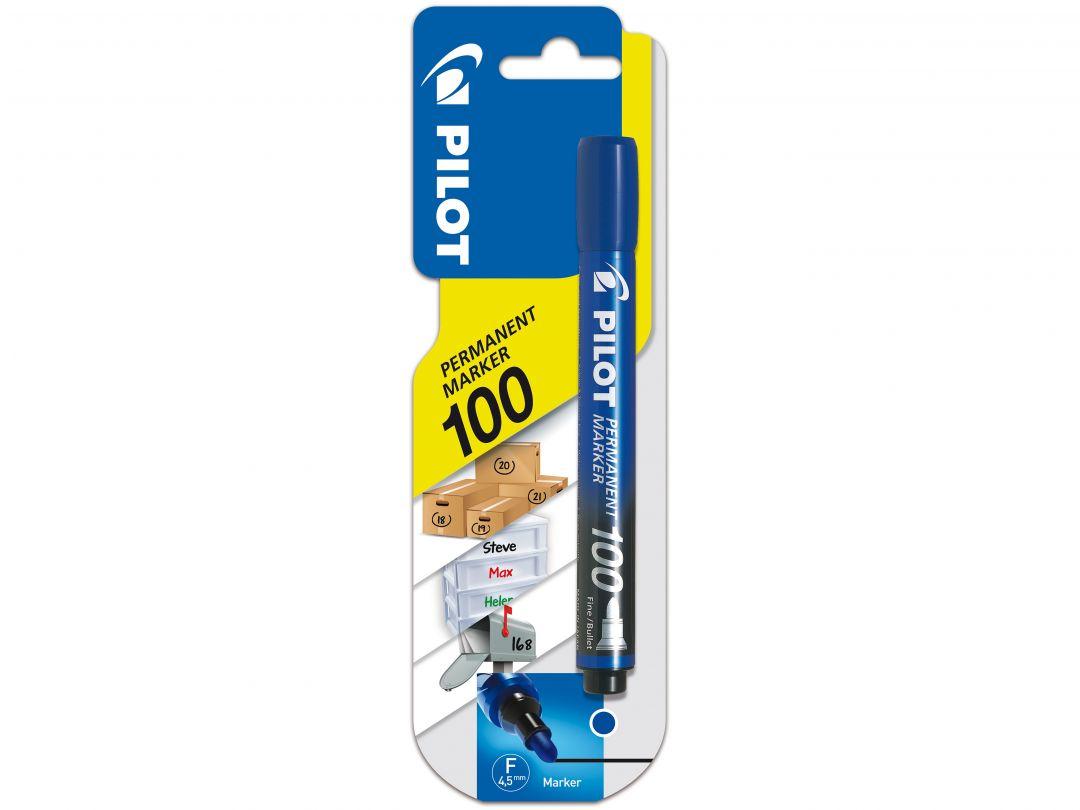 Blister Permanent Marker 100 Fin Bleu