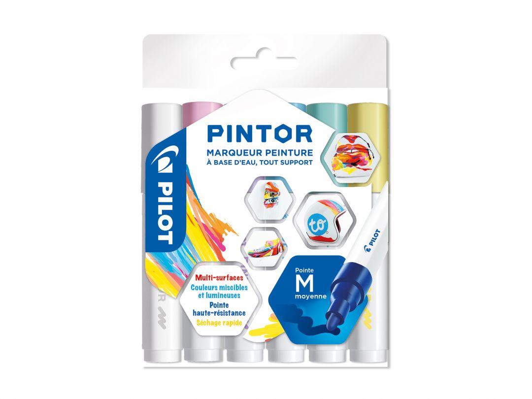 Pilot Pintor - Pochette de 6 - Pastel - Pointe Moyenne