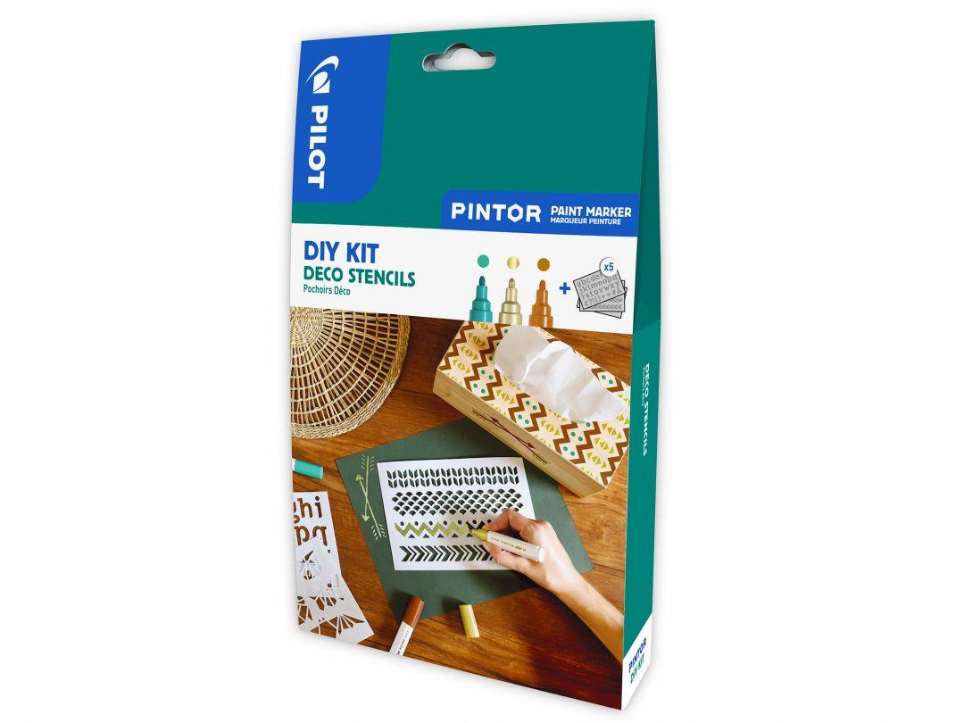 Pilot Pintor - Kit créatif - Pochoirs - Couleurs assorties - Pointe Moyenne