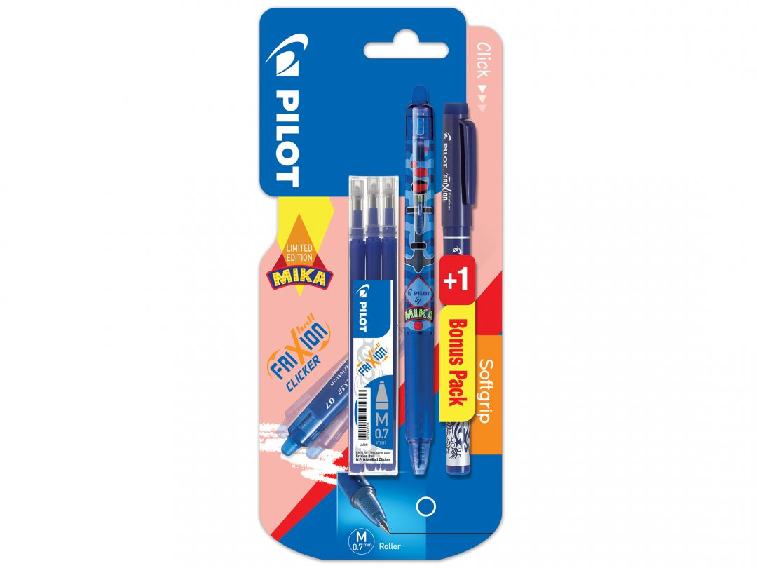 Blister FriXion Clicker 0.7 Mika L - set 3 recharges + FriXion Fineliner