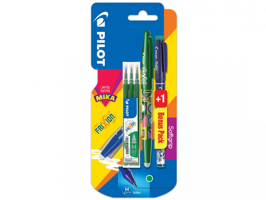 Blister FriXion Ball 0.7 Mika v - set 3 recharges + FriXion Fineliner
