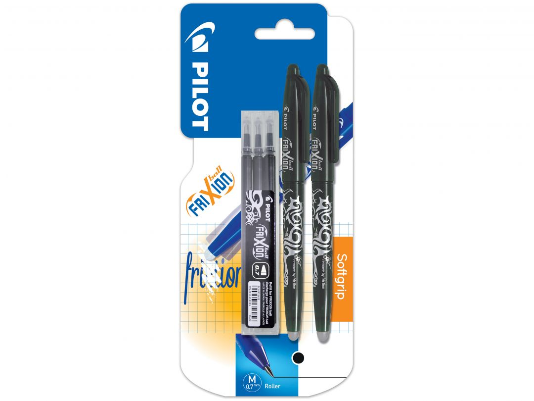 Blister 2 FriXion Ball 0.7 Noir - Etui 3 Recharges