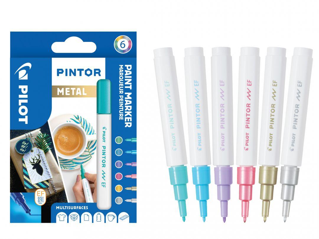 Pilot Pintor - Pochette de 6 - Métal - Pointe Extra Fine