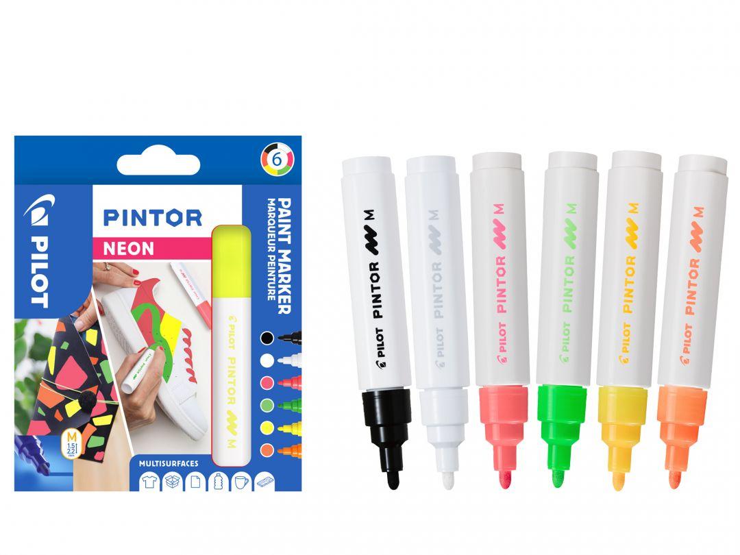 Pilot Pintor - Pochette de 6 - Couleurs Néon - Pointe Moyenne