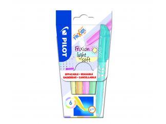 FriXion Light Soft - Pochette de 6 - Violet pastel, Jaune pastel, Orange pastel, Rose pastel, Vert clair, Bleu clair - Pointe Moyenne